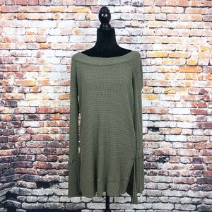 We the Free Long Sleeve Tunic Top Waffle Texture